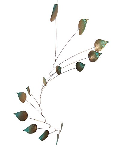 Modern Artisans Copper Aspen Leaves Spinning Mobile Indoor Outdoor, Large 14-Leaf Version, American Made