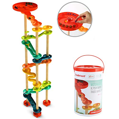 TOP BRIGHT Marble Run Set, Track Maze Marble Game for Kids, STEM Construction Building Blocks Learning Toys for 3 4 5 Year Old Boy and Girl Gifts