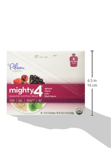 Plum Organics Tots Mighty 4 Essential Nutrition Blend Pouch, Spinach, Cherry, Oats and Black Beans, 4 Ounce (Pack of 12)