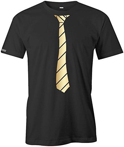 JGA - Krawatte Business Style - Herren T-SHIRT in Schwarz-Gold by Jayess Gr. XXXL