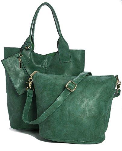 BHBS Bolso 3 en 1 tipo Tote para Dama en Imitación Piel y Pequeño Bolso para Maquillaje 44x38x10 cm (LxAxP) Verde Brillante