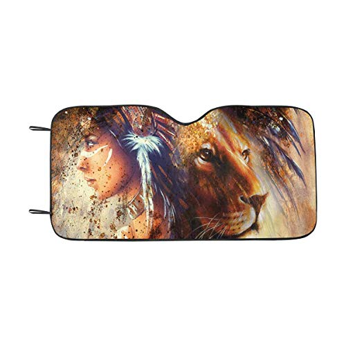 - INTERESTPRINT Indian Woman Wearing Feather Headdress with Lion Auto Sun Shade Universal Size Fit 55