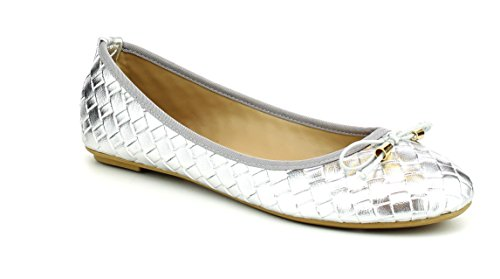 - Women's Slip On Ballet Flats Ballerina Comfort Slippers Trendy Round Toe Bow Tie Dress Shoes FC02 Silver 8