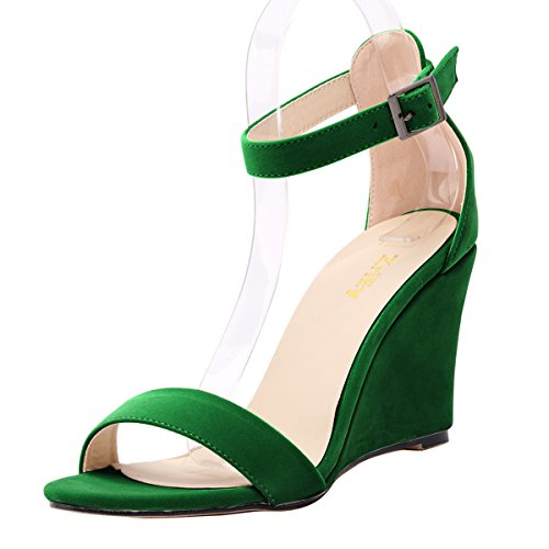 ZriEy Women's Sexy Comfort wedge Heel Ankle Straps Sandals Velvet Green size 9 /40 M EU