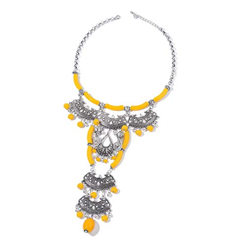 Shop LC Delivering Joy Designer Inspired Yellow Chroma Silvertone Statement Necklace 20-22 in