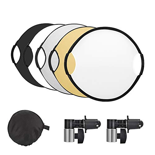UTEBIT 32'' 5 in 1 Camera Sun Reflector with 2 Reflector Holders 80cm Collapsible Handle Photography Light Photo Diffuser for Studio Outdoor Lighting Portable Multi-Disc Round Photoshoot Reflectors from UTEBIT