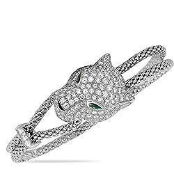 White Gold Diamond Emerald Onyx Panther Bracelet