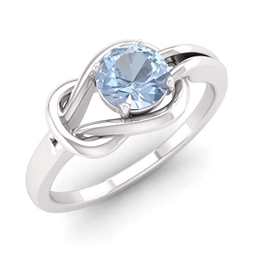 (Diamondere Natural and Certified Aquamarine Solitaire Engagement Ring in 14K White Gold | 0.30 Carat Infinity Knot Ring for Women, US Size 6.5)