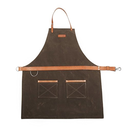 Rugged Apron - Waxed Canvas - Dark Oak - Made in USA from Hardmill