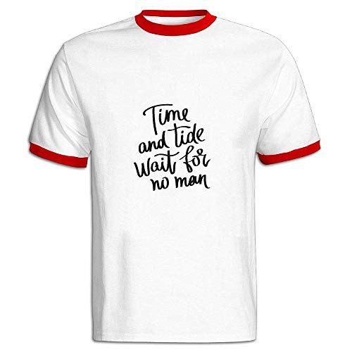 2019 Time and Tide Wait for No Man Mens Printed T-Shirt Short Sleeves Crewneck Sports Cotton Tee Red