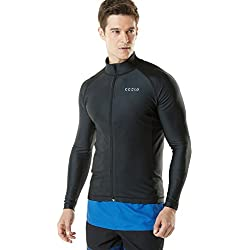 TSLA TM-MSZ03-BLK_X-Large Men's UPF 50+ Zip Front Long Sleeve Top Rashguard Swimsuit MSZ03