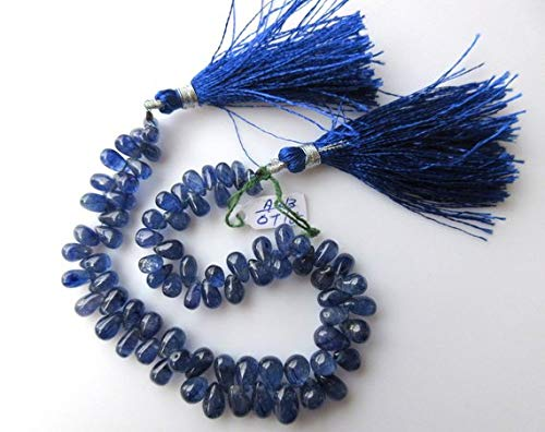 Super Quality Gemstone Beautiful Jewelry Natural Blue Sapphire Smooth Tear Drop Briolette Beads, 6mm To 8mm Beads, 4 Inch Code-JP-3882   B07KVVLMCM
