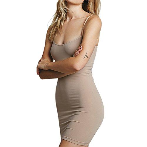 Minetom Las Mujeres Verano Atractivo Vestido Sin Mangas Cuello Redondo Bodycon Mini Dress De Tirantes Del Color Sólido Falda Corta Ocasional Piel