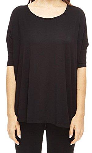 Marilyn & Main Women's Bamboo 3/4 Sleeve Batwing Dolman Sleeve Tunic Top (Medium, Black)