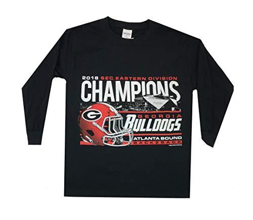 (NCAA UGA SEC Football Division Champions Youth Long Sleeve T-Shirt-Medium Black )