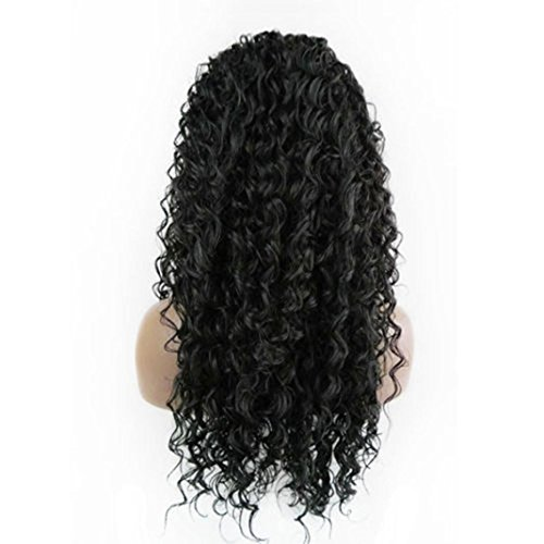 Indian Hair Wigs (SANNYSIS Curly Wig Glueless Full Lace Black Wigs Women Indian Remy Human Hair Lace Front 24 inches)