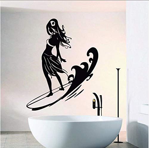(LSFHB Cool Girl Standing On Surfboard Wall Stickers Home Livingroom Sport Series Decorative Vinyl Wall Decals Surfing Game Mural)