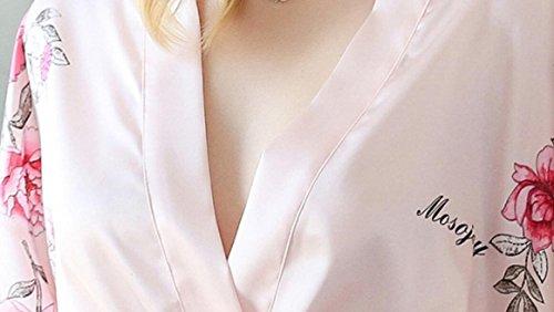 Wanyne -dressing Robes Avec Dames Robe Bracelet Fleurs Manches En Dentelle Brodée Pyjama Peignoir Kimono Peignoir