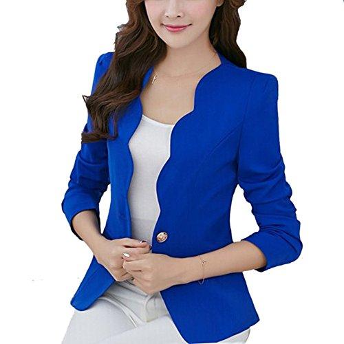 EXIU - Abrigo - chaqueta - Manga Larga - para mujer azul oscuro
