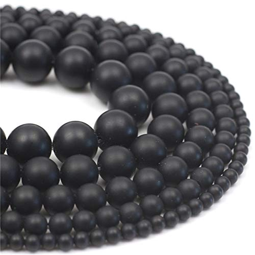 Oameusa 4mm Natural Black Matt Agate Beads Round Beads Gemstone Beads Loose Beads Agate Beads for Jewelry Making 15