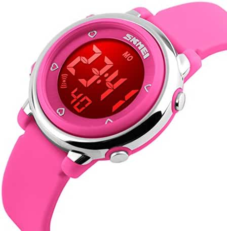 USWAT Children Digital Watch Outdoor Sports Watches Boy Kids Girls LED Alarm Stopwatch Wrist watch Children's Dress Wristwatches Pink