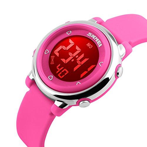 USWAT Children Digital Watch Outdoor Sports Watches Boy Kids Girls LED Alarm Stopwatch Wrist watch Children's Dress Wristwatches Pink