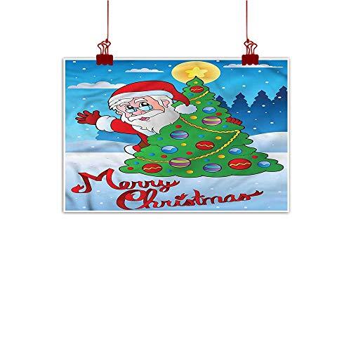 (Mangooly Art Poster Print Santa,Festive Tree Snowy Forest 28