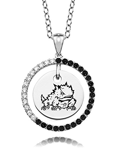 Texas Christian Horned Frogs Black and White Cz Circle ()