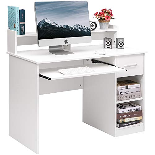 Merax Home Office Desk Computer Desk Wooden PC Laptop Desk Modern Writing Table Wood Study Workstation with Storage Drawer (White(w/Drawer))