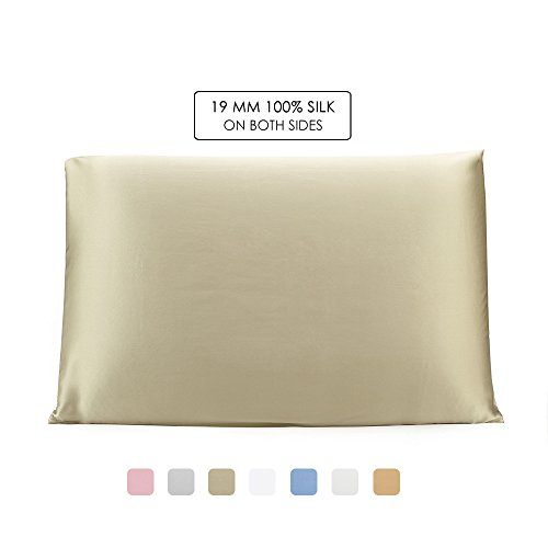 OleSilk 100% Mulbery Silk Pillowcase with Hidden Zipper for Hair and Skin Beauty,Both Sides 19mm Charmeuse Gift Box - Taupe, Standard (Sd Slip)