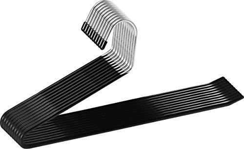 Utopia Home Slack Pant Hangers - Pack of 20 - Trouser Hangers - Open-Ended Metal Easy Slide Pants Hanger - Organizer - Chrome and Black Friction