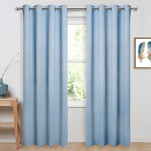 PONY DANCE Linen-Look Pattern Curtains - Textured Printed Energy Saving Privacy Panel Room Darkening Noise Reduce Drapery Grommet Top for Living Room/Bedroom, Dusk Blue, 52 by 84-Inches, 2 PCs