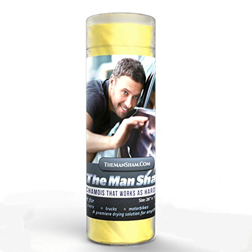The Man Sham Chamois Cloth - 26' X 17' - Top Men's Gift - Ultimate Towel for Fast Drying of Your Car...