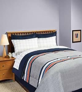 gray blue orange boys full comforter set 8 piece bed in a bag home kitchen. Black Bedroom Furniture Sets. Home Design Ideas