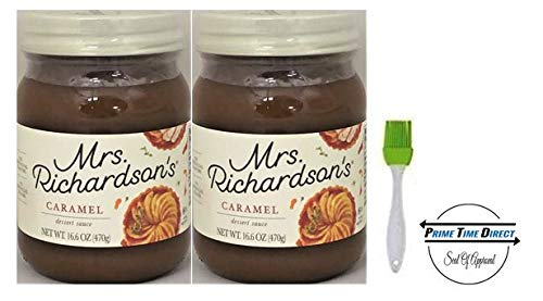 (Mrs Richardsons Butterscotch Caramel, 17 oz (Pack of 2) with Silicone Basting Brush in a Prime Time Direct Sealed Bag)