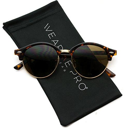 WearMe Pro - Round Retro Semi Rimless Retro - Semi Sunglasses Round