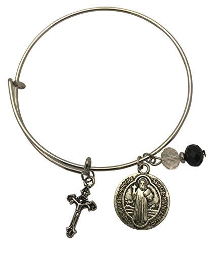 Westman Works St Benedict Faith Bangle Beaded Saint Bracelet with Cross Charm Includes Gift ()