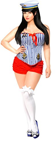 Pin Up Girl Costumes Corset - Daisy Corsets 3 PC Pin-Up Sailor Girl Women's Costume