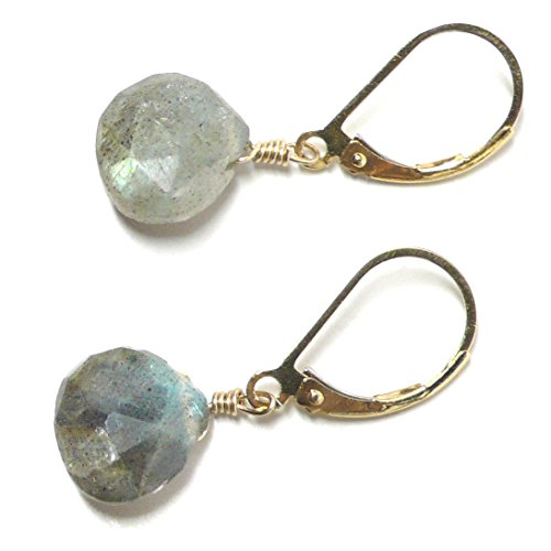 Labradorite 10x10mm Briolette Lever Back Earrings Gold-Filled