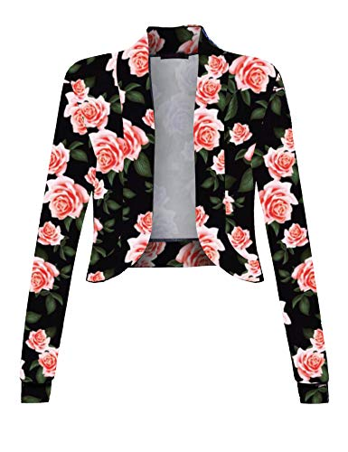 (Sufiya Womens Lightweight Cardigan Sweater Shrug with Floral Print)