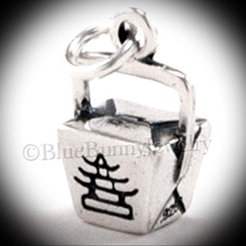TAKE Out Charm Chinese Food Pendant Asian Sterling Silver 925 Vintage Crafting Pendant Jewelry Making Supplies - DIY for Necklace Bracelet Accessories by CharmingSS from CharmingStuffS