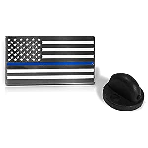Thin Blue Line American Flag - Soft Enamel Metal Police Pin with Rubber Pin Back that Prevents Spinning. Perfect For Cop Uniform, Suit Lapel or Tie Tacks (Blue)