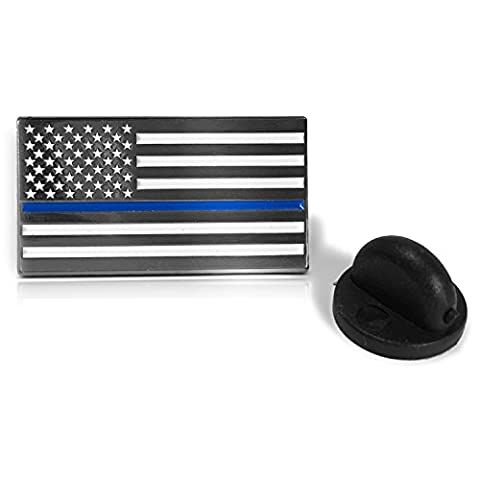 Thin Blue Line American Flag - Soft Enamel Metal Police Pin with Rubber Pin Back that Prevents Spinning. Perfect For Cop Uniform, Suit Lapel or Tie Tacks (Citizen Flag Band)