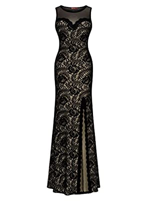 Miusol Women's Sleeveless Long Black Lace Split Side Evening Formal Dress