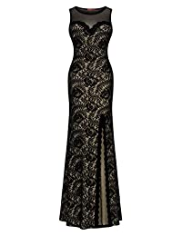 Miusol® Women's Sleeveless Long Black Lace Split Side Evening Formal Dress(3096)