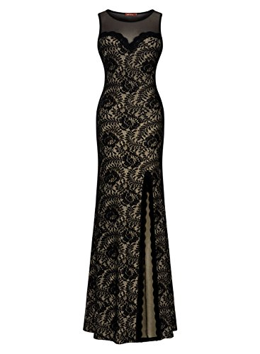 Miusol Women's Sleeveless Long Black Lace Split Side Evening Formal Dress, Black, Small by Miusol