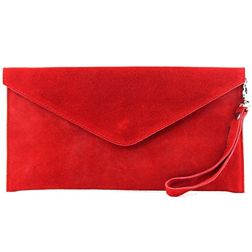 modamoda de - ital embrague/noche bolsa de gamuza T106, Color:rojo