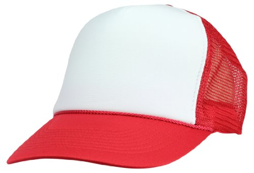 DALIX Blank Hat Two Tone Summer Mesh Cap in Red and White Trucker Hat ()