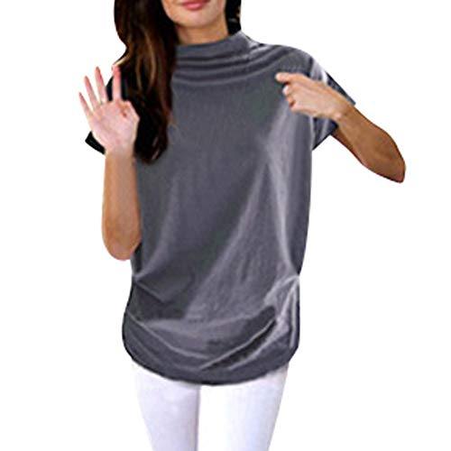 Adeliber Women's high Collar Casual Short-Sleeved Cotton Solid Color Shirt T-Shirt Tops Large Size Gray