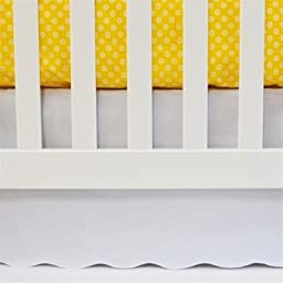 "Oliver B Crib Skirt Nursery Bedding, White, Scalloped – 100% Cotton – 26"" x 51"" with 14"" Drop"